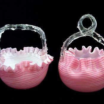 Welz Candy Striped Matching Baskets Thorn Handles - Art Glass