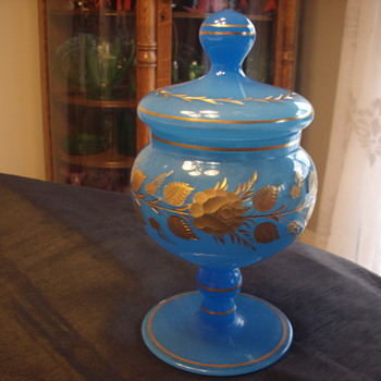 Victorian Baccarat Blue Opaline Gilded Covered Jar - Art Glass