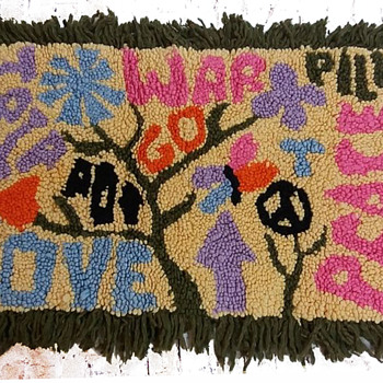 Folk Art: Early 1970s VERY HIPPIE Punch Hole Latch Hook Rug  - Rugs and Textiles