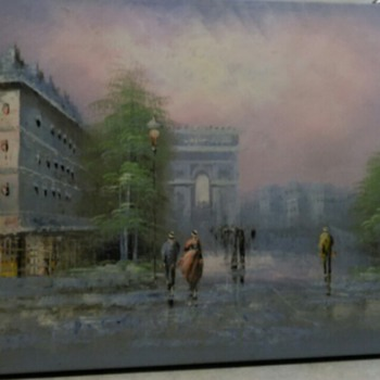 OIL PAINTING CITY SCENE - Fine Art