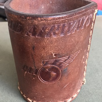 Vintage Pan Am PAA World Airlines Leather Dice Cup - Advertising