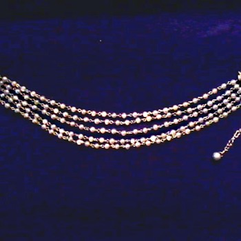 """""""Coro"""" Five Strand Faux Pearl Choker/ Circa 20th Century - Costume Jewelry"""