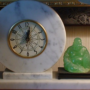 Green Budda Clock Marble Surround  1960s? Movement By Lanshire Chicago, ILL