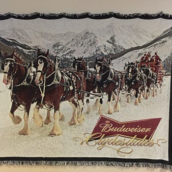 Budweiser Winter Throw Blanket Rare Clydesdales King of Beers