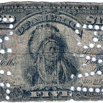 1899 Series Indian Chief Counterfeit Silver Certificate Scarce with Punch BAD - US Paper Money