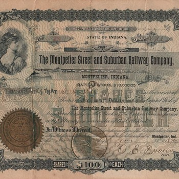Street and Suburban railway stock certificate - Railroadiana