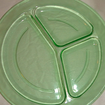Green Glass has minted design around edge. Different - Glassware
