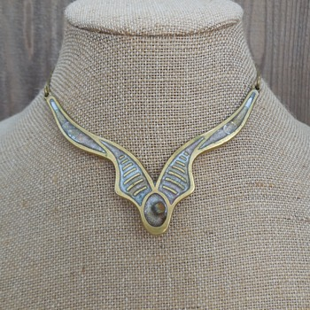 1970's Brass And Resin Choker Necklace Greek Hippie Boho Style - Fine Jewelry