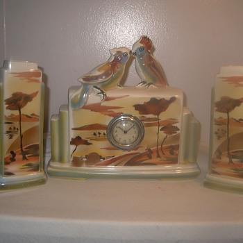 Love Birds Faience Clock Set 1945-50