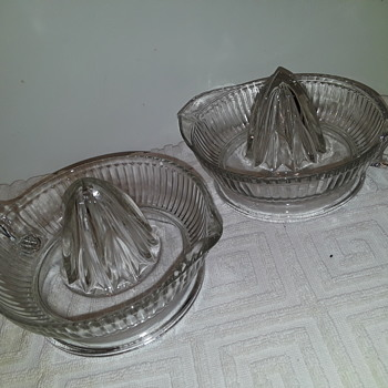 pair (almost) of old glass juicers - Glassware