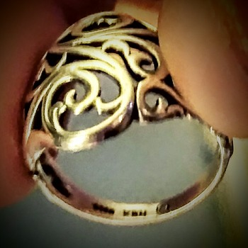 Sterling silver ( KBN) c we oven pattern ring another thift store find. Awaiting more info  on it