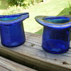 2 Blue cobalt glass  top hats