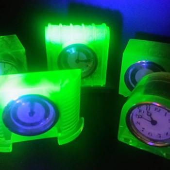 Uranium Glass Clocks - Art Deco