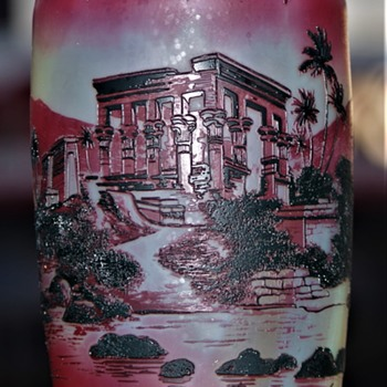 DE VEZ CRISTALLERIE DE PANTIN CAMEO GLASS VASE FRANCE EYPTIAN THEME  MALKEY THE OMEGA MAN - Art Glass