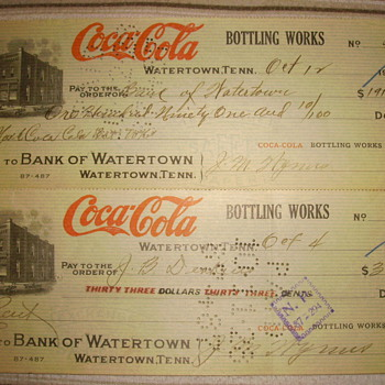 1928 Coca-Cola Bank of Watertown Checks - Coca-Cola