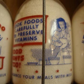 SANITARY DAIRY...WARREN OHIO...CREAMTOP WAR SLOGAN....WOMAN & FOOD CONSERVATION - Bottles