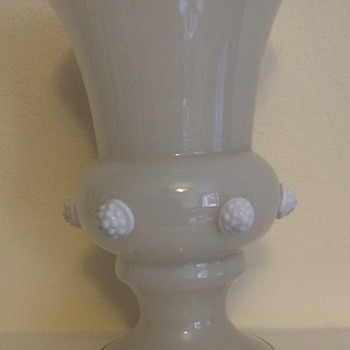 Kralik white Art Deco flared baluster vase with raspberry prunts