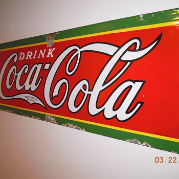 "1930's, 12""x31"" Porcelain Coca-Cola Sign - Coca-Cola"