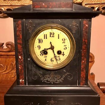 Antique Black (slate?) Mantel Clock - Clocks