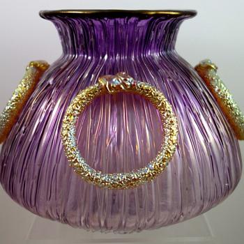 Loetz Vase - Empire, pensée verlaufend Texas mit Silber, PN unknown, ca. 1906 - Art Glass