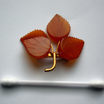 Vintage Russian / Soviet baltic amber gold plated leaf pin - Costume Jewelry