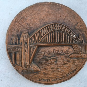 F Rentz Wood Carving Sydney Harbour Bridge - Folk Art