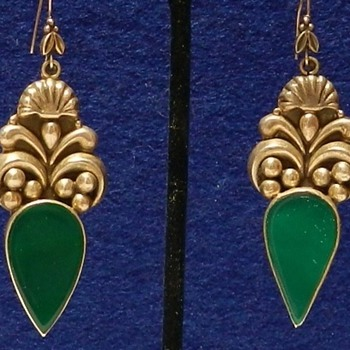 1930's Taxco Sterling Silver & Chrysoprase Earrings - Fine Jewelry