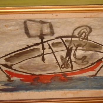 Looks like Miro - kindof... Called Drifting? Any idea on the artist?