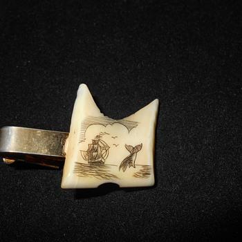Scrimshaw tie clip