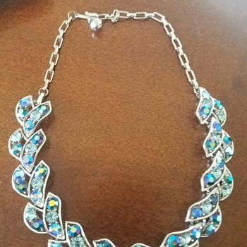 Pretty Silver Toned AB Rhinestone Necklace from Coro - Costume Jewelry