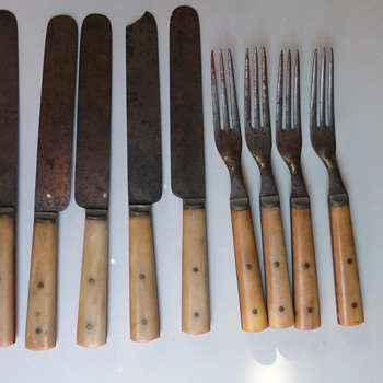 Civil War Bone and Steel Eating Utensils