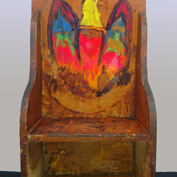 1969 Hippie Folk Art Shelf with Psychedelic Eagle.  - Folk Art
