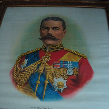 WWI Original Prints on Silk: Earl Kitchener - 1 of 2 - Military and Wartime