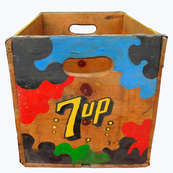 Early 1970s Los Angeles 7-Up Wooden Crate w Psychedelic Paint.  - Advertising