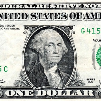 """2013 One Dollar Federal Reserve Note with """"Bleed through"""" of Bank and Treasury Seals - US Paper Money"""