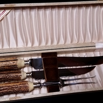 Circa 1950's Sheffield Carving Set with Stag/Antler Handles - Kitchen