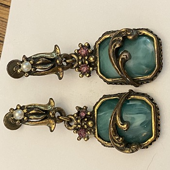 Art Nouveau Earrings (?) and Pin - Art Nouveau