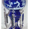 Cobalt blue glass mantle luster candle lamp Mary Gregory?