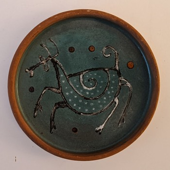 Whimsical MCM Pottery Dish - Mystery Signature - Mid-Century Modern