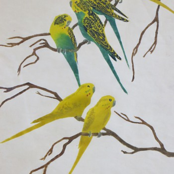 Vintage Parakeet Print~Recognize the Artist's Pencil Signature ?