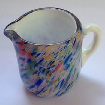 Victorian cased spatter glass jug.   - Art Glass