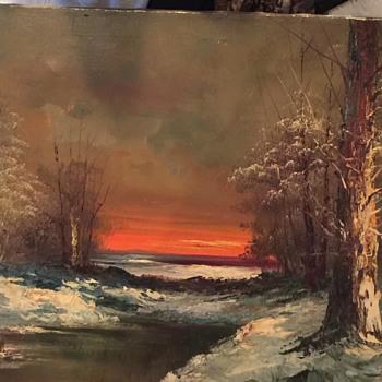 Vintage Signed G. Whitman Original Oil on Canvas Painting Winter Landscape  - Fine Art