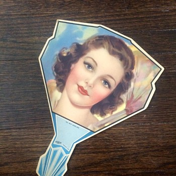Art Nouveau Female Figural Handheld Fan
