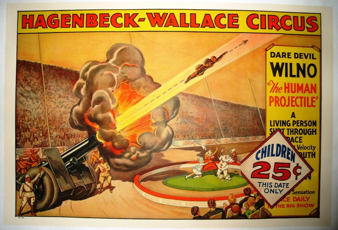 1879 Circus Poster for Human Cannonball Aerial Acrobatic ... |Human Cannonball Circus Poster