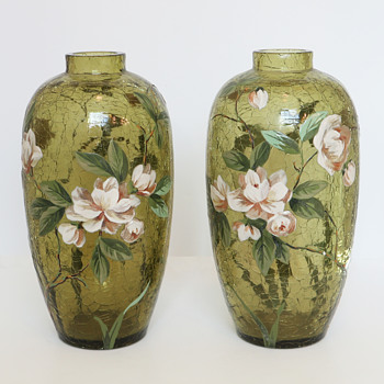 Enameled Harrach Crackle Vase Pair - Art Glass