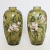 Enameled Harrach Crackle Vase Pair