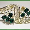 """Vintage """" CORO """" Brooch - Emerald Rhinestones"""