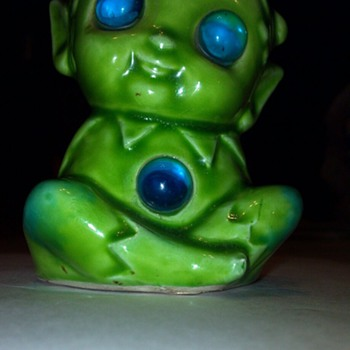 Green elf, with light up blue eyes and tummy. - Pottery