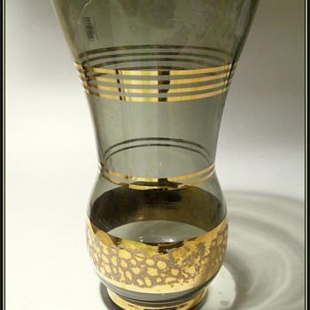 Unknown Glass Vase -- Gold Gilt Trim - Glassware