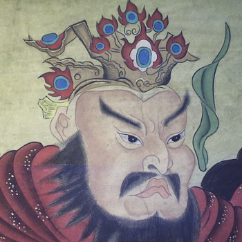 Chinese Scroll Painting, 2/3, GUAN YU, God Of War,Very Old, late 1800,early 1900 - Asian